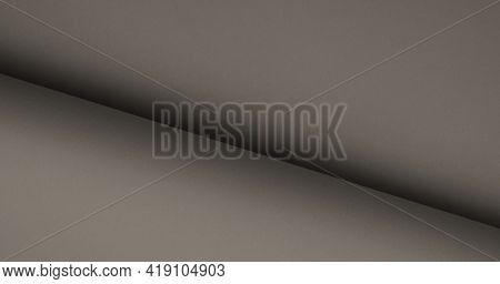 Neutral Elegant Smooth Gray, Beige Color. Rolled Empty Paper Texture Background. Minimal Design Abst
