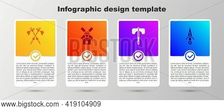 Set Crossed Medieval Axes, Windmill, Medieval And Dagger. Business Infographic Template. Vector