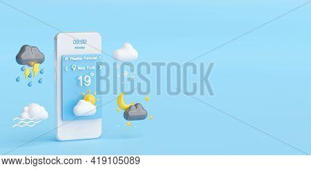 Weather Forecast Concept, Smartphone Displays Weather Forecast Application Widget, Icons, Symbols, 3
