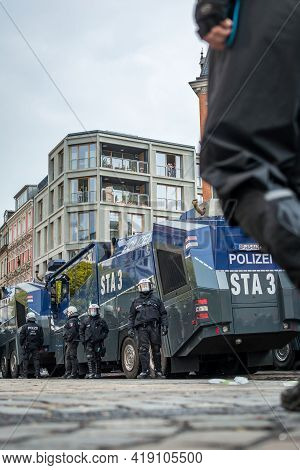 Hamburg, Germany - May 1, 2021: Water Cannons On Schulterblatt Street During Protests On May Day, La