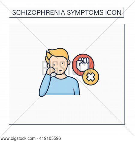Negative Symptoms Color Icon.low Interest, Enthusiasm.problems With Motivation, Lack Of Self-care.sc