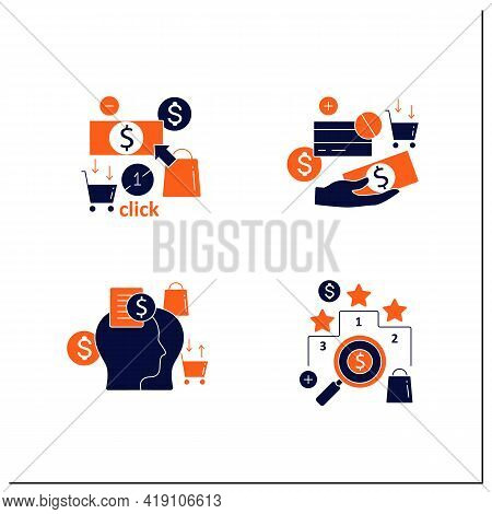 Mindful Spendings Glyph Icons Set. Rating, Accountability Partner, One Click Buying, Cash Using. Buy