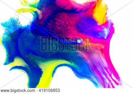 Watercolour Design. Abstract Colourful Watercolor Paint Pattern Isolated In White Water For Color Te