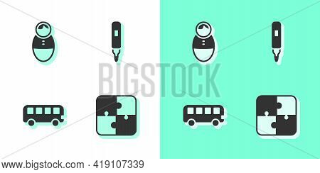 Set Puzzle Pieces Toy, Tumbler Doll, Bus And Marker Pen Icon. Vector