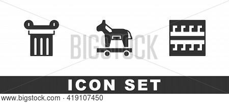 Set Ancient Column, Trojan Horse And Greek Pattern Icon. Vector