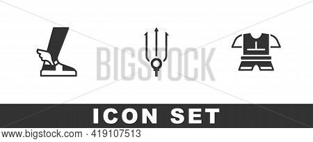 Set Hermes Sandal, Neptune Trident And Body Armor Icon. Vector