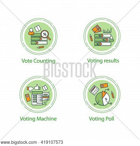 Election Concept Line Icons Set.voting Machine And Result, Vote Counting, Voting Poll. Choice, Vote
