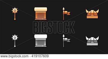 Set Medieval Chained Mace Ball, Decree, Parchment, Scroll, Spear And Viking Horned Helmet Icon. Vect