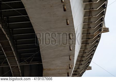 View Under The Freeway Bridge In The City