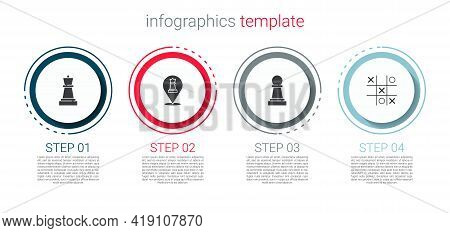 Set Chess, , And Tic Tac Toe Game. Business Infographic Template. Vector