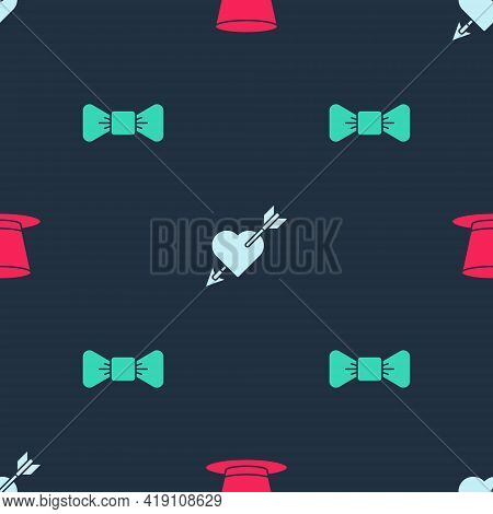 Set Cylinder Hat, Amour With Heart And Arrow And Bow Tie On Seamless Pattern. Vector