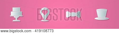 Set Paper Cut Wedding Cake, Location With Heart, Bow Tie And Cylinder Hat Icon. Paper Art Style. Vec