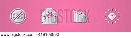 Set Paper Cut No Money, Envelope With Dollar Symbol, Financial Growth Decrease And Diamond Icon. Pap