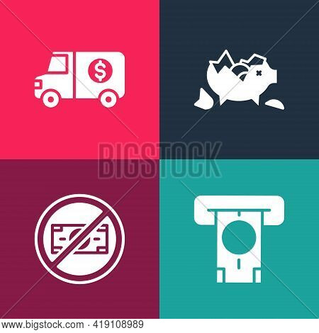 Set Pop Art Atm And Money, No, Broken Piggy Bank And Armored Truck Icon. Vector