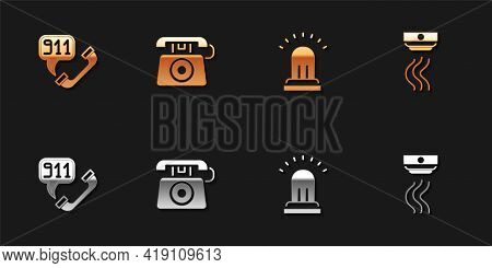 Set Telephone Call 911, , Ringing Alarm Bell And Smoke System Icon. Vector