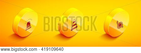Set Isometric Ringing Alarm Bell, Traffic Cone And Fire Hose Reel Icon. Vector