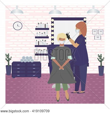 Vector Illustration Of A Masked And Gloved Barber Giving A Haircut To A Woman In A Beauty Salon. Vis