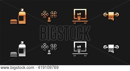 Set Bottle Of Shampoo, Water Tap, Washbasin Mirror And Toilet Paper Roll Icon. Vector