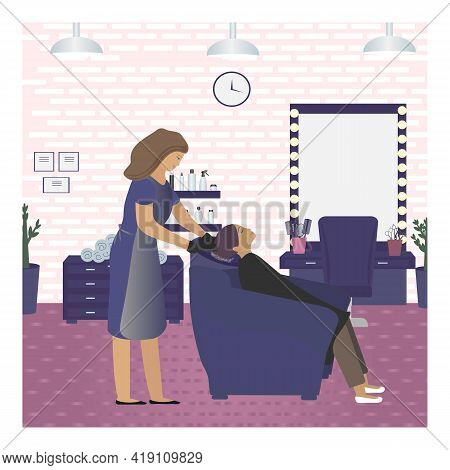 Vector Illustration With A Hairdresser Who Washes The Hair Of A Girl In A Beauty Salon. Visit To The