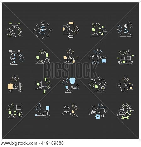 Smart Farm Chalk Icons Set. Consist Of Machinery Technician, Rfid Identification, Animal Breeder, Gp
