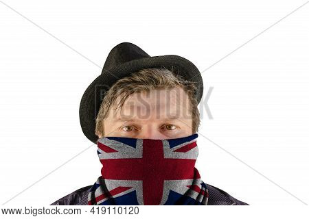 A Middle-aged Man Wearing A Black Hat With Small Brim And A Scarf Over His Face. A Scarf With A Pict