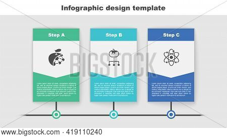 Set Biological Structure, Genetically Modified Food And Atom. Business Infographic Template. Vector