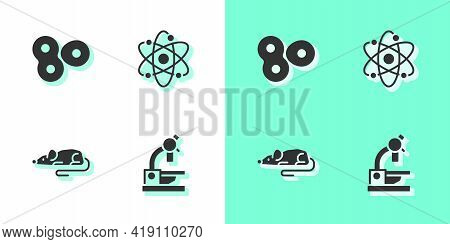 Set Microscope, Cell Division, Experimental Mouse And Atom Icon. Vector