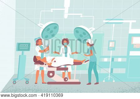 Nurse Operating Room Composition The Surgeon Works In The Operating Room With Two Assistants Vector