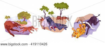 Three Animals Icon Set With Running Wolves Defeated Wolves And A Tiger Vector Illustration