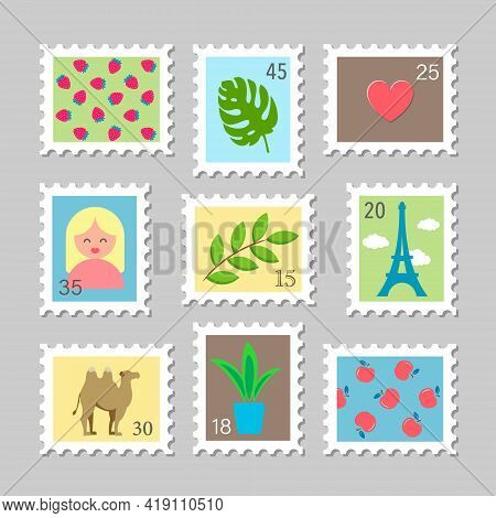 Set Of Nine Beautiful Colourful Stamps, Isolated On Grey Background. Variety Of Modern Vector Post S