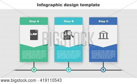 Set Law Book, Paper Analysis Magnifying And Courthouse Building. Business Infographic Template. Vect