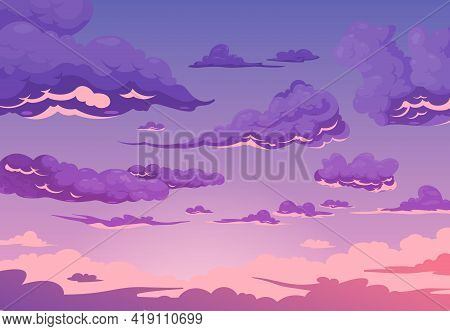 Evening Cloudy Sky Purple Background With Group Of Cumulus And Cirrus Clouds Flat Cartoon Vector Ill
