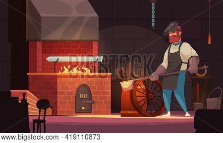Blacksmith In Workshop Forging Custom Crafted Sword Blade In Brick Forge Bright Orange Flame Cartoon