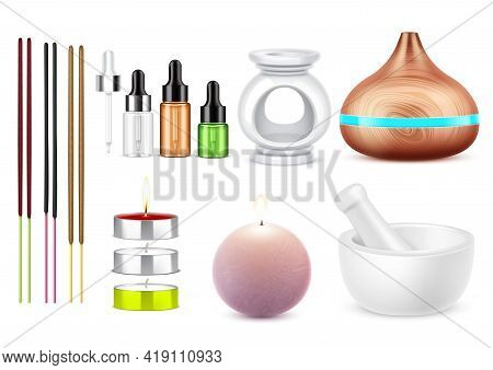 Aromatherapy Set With Realistic Bottles Of Essential Oil Burning Candles Mortar Aroma Lamp Burner An