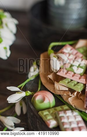 Assortment Of Luxury Colored Bonbons. Exclusive Handmade Chocolate Candy. Springtime, Womans Day, Va