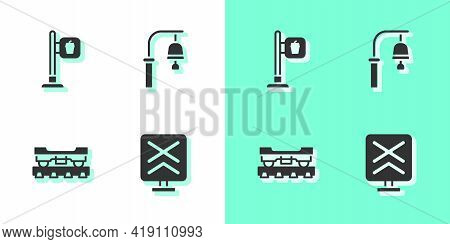 Set Railroad Crossing, Cafe And Restaurant Location, Cargo Train Wagon And Train Station Bell Icon.