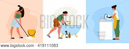 Flat Cleaning Up Design Concept With Three Women Mopping Floor Washing Bath And Dishes Isolated Vect