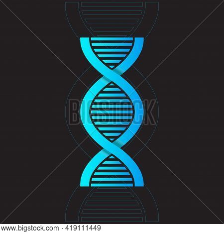 Vector Abstract Blue Dna Double Helix Illustration With Shallow Depth Of Field. Mysterious Source Of