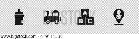 Set Baby Bottle, Toy Train, Abc Blocks And Dummy Pacifier Icon. Vector