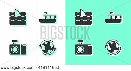 Set Worldwide, Shark Fin In Ocean Wave, Photo Camera And Beach Pier Dock Icon. Vector