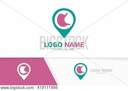 Vector Stomach And Map Pointer Logo Combination. Gastrointestinal Tract And Pin Logotype Design Temp