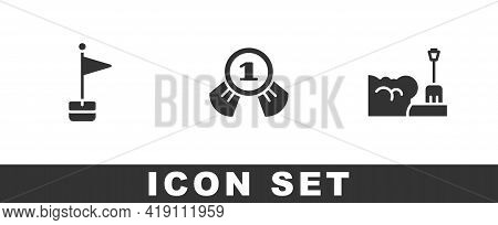 Set Location Marker, Medal And Shovel In Snowdrift Icon. Vector