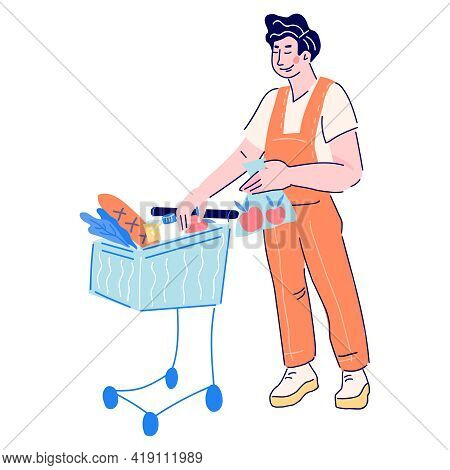 Man Buyer Purchasing Food In Supermarket And Putting Goods Into Shopping Trolley, Cartoon Vector Ill