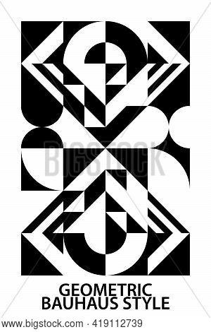 Geometric Pattern, Circle, Triangle, Square, Diamond Shape. Abstract Background, White Black, Bauhau