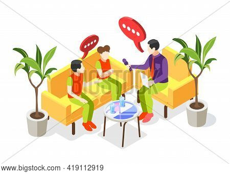 Isometric Composition With Two Teens Participating In Tv Quiz Show On White Background 3d Vector Ill