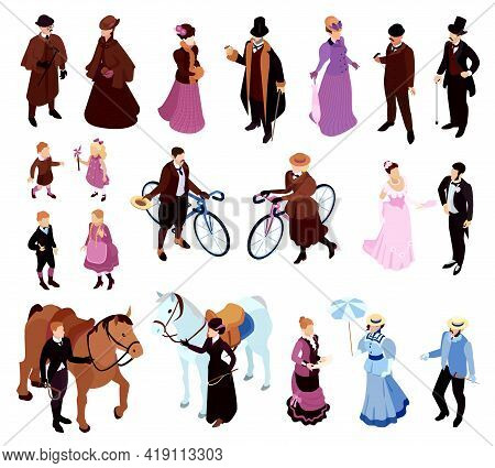 Isometric Victorian Lady Gentlemen Fashion Set Of Isolated Icons With Characters Of Adult Aristocrac