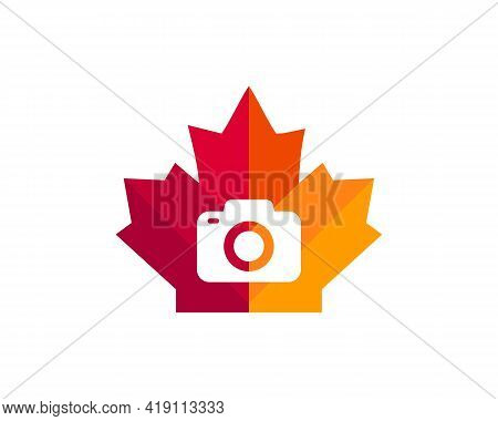 Maple Camera Logo Design. Canadian Photography Logo. Red Maple Leaf With Camera Concept Vector