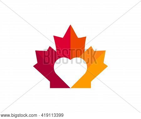 Maple Heart Logo Design. Canadian Red Maple Leaf With Love Shape Concept