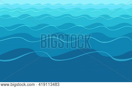 Abstract Blue Wavy Water Background. Template For Banner, Poster, Flyer, Brochure, Presentation. Vec