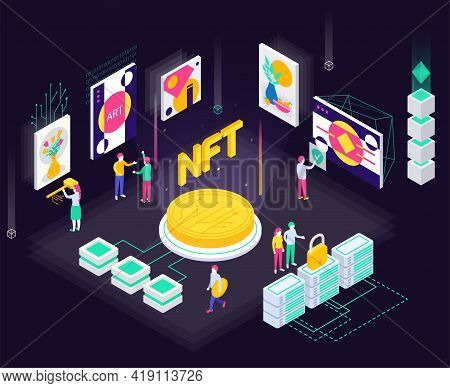 Cryptographic Art Crypto Art Nft Isometric Composition With Coin Icons Servers With Lock And Art Col